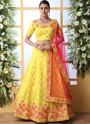 Yellow Art Silk Embroidered Bridal Lehengas