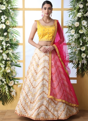 Off White Art Silk Embroidered Bridal Lehengas
