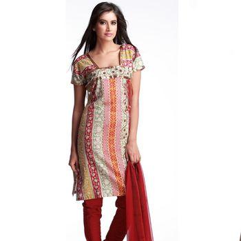 Graceful Multicolor Block Print Suit With Sequins