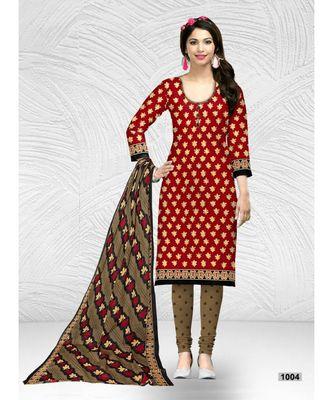 red cotton dress-materials