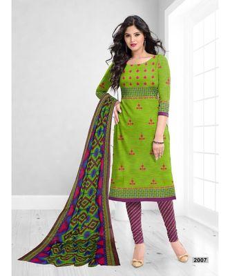 green cotton dress-materials