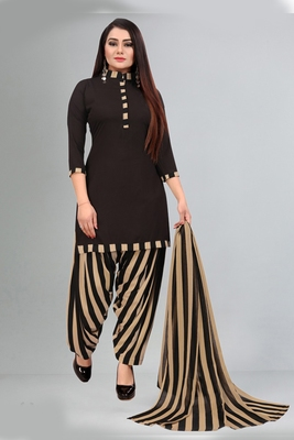 brown synthetic dress-materials