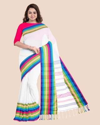 Handwoven Pure Khadi White BegumPuri Multicolor Mahapaar Saree with Blouse Piece