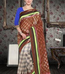 Brown Cotton    Brasso Saree With Blouse For Women