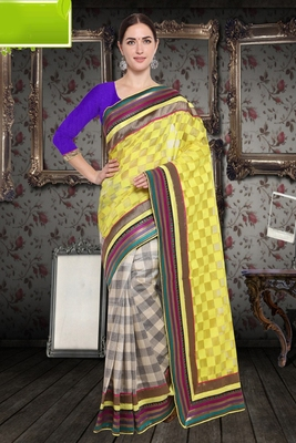 Yellow Cotton    Brasso Saree With Blouse For Women