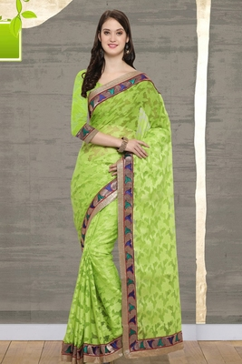Green Cotton    Brasso Saree With Blouse For Women