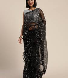 Black plain organza saree with blouse
