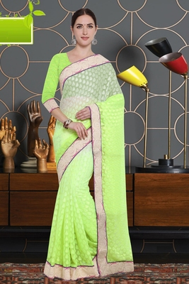 Green Art Silk   Brasso Saree With Blouse For Women