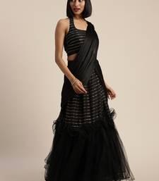 Black plain net saree with blouse