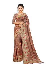 Brown Art Silk   Embroidered    Saree With Blouse For Women