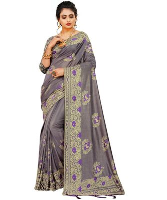 Purple Art Silk   Embroidered    Saree With Blouse For Women