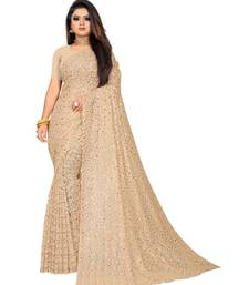 Brown Georgette    Embroidered    Saree With Blouse For Women