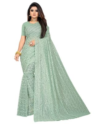 Green Georgette    Embroidered    Saree With Blouse For Women