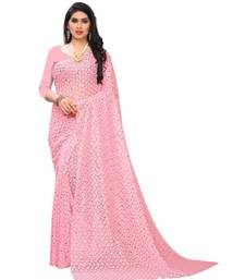 Pink Georgette    Embroidered   Saree With Blouse For Women