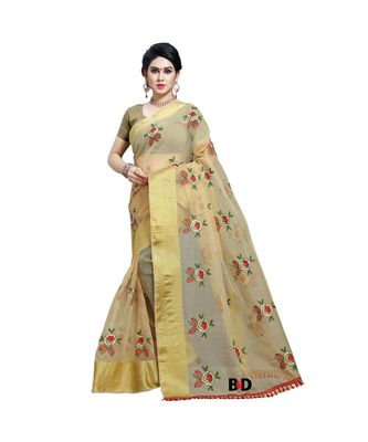 Beige Organza  Embroidered   Saree With Blouse For Women