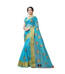 Blue Organza  Embroidered   Saree With Blouse For Women