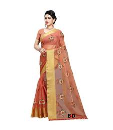 Orange Organza  Embroidered   Saree With Blouse For Women