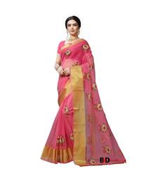 Pink Organza   Embroidered   Saree With Blouse For Women