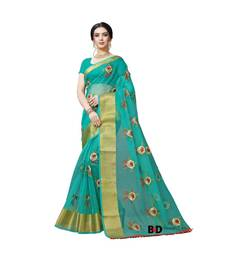 Teal Organza  Embroidered   Saree With Blouse For Women