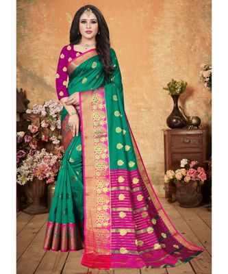Green Art Silk   Woven Saree With Blouse For Women