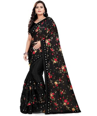 Black Art Silk   Printed  Saree With Blouse For Women