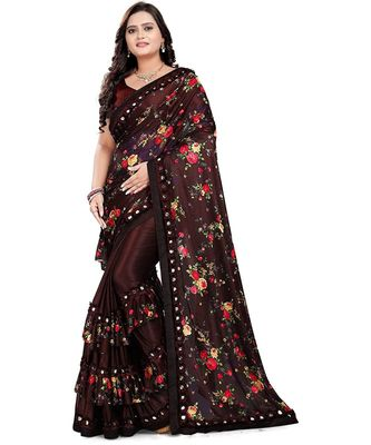 Brown Art Silk   Printed  Saree With Blouse For Women