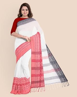 Handwoven Pure Khadi BegumPuri Ganga Jamuna Mahapaar Saree with Blouse Piece (White Red & Black)