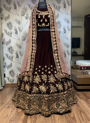 Maroon embroidered velvet semi stitched lehenga