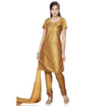 Elegant Handloom Silk Suit Adorned With Metal Foils-08Ss32