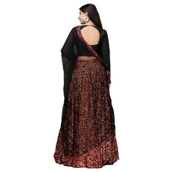 Black embroidered velvet semi stitched lehenga