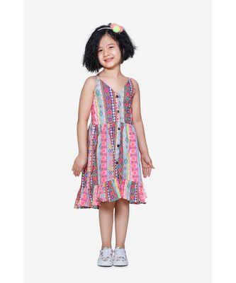 Neon Pink Stripe Low-High Boho Dress