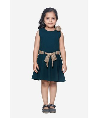 Teal Green Partywear Dress with Golden Detailing