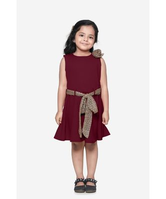 Maroon Partywear Dress with Golden Detailing