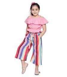 Pink Off Shoulder Top and Striped Culotte Pant Set