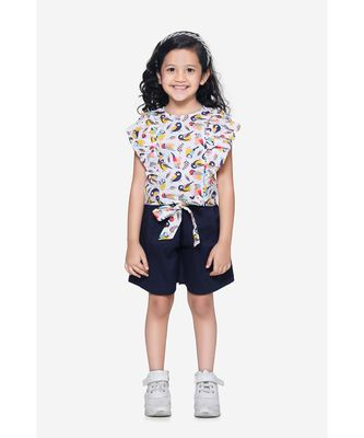 Bird Print ruffle top with Navy belted shorts Set