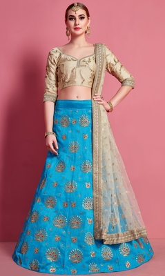 Sky-blue embroidered art silk semi stitched lehenga
