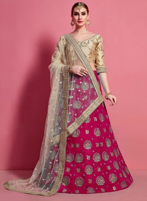 Rani-pink embroidered art silk semi stitched lehenga