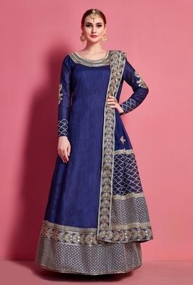 Navy-blue embroidered art silk semi stitched lehenga