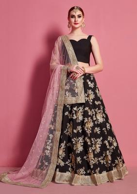 Black embroidered crepe Semi Stitched wedding & party lehenga
