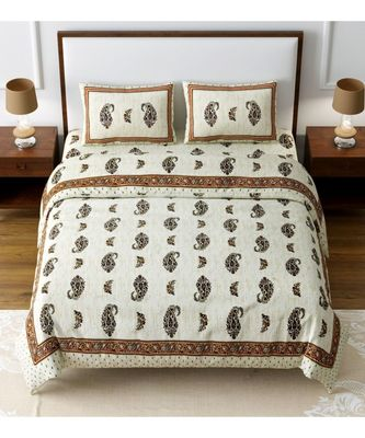RIDAN COTTON KING SIZE MULTICOLOUR DOUBLE BED SHEET WITH PILLOW COVER