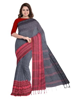 Handwoven Pure Khadi BegumPuri Ganga Jamuna Mahapaar Saree with Blouse Piece (Grey Red & Black)