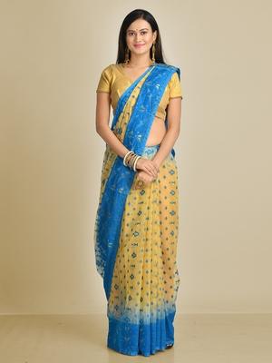 Multicolor hand woven silk blend saree