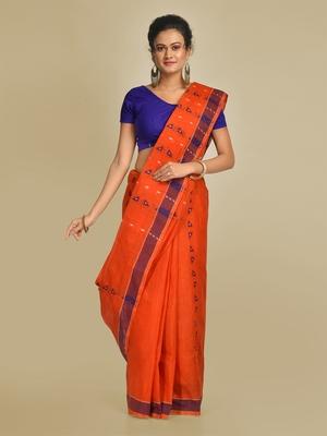 Multicolor hand woven pure cotton saree