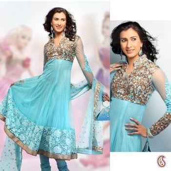 Maya Blue Lace work Anarkali Churidar Set