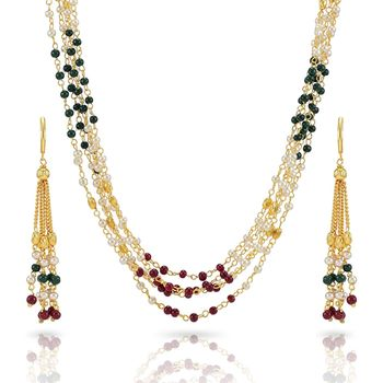 Indian Royal Premium Pearl Chain Multi Layered Necklace set with Matching Earrings