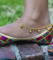 Golden ghungroo adjustable anklet pair