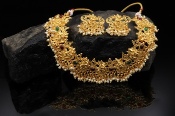 Gold Plated Temple Choker Necklace  Set For Women