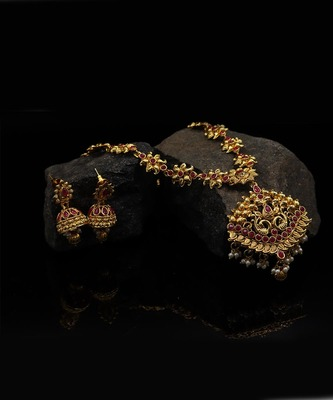 Gold Plated Mated Finish Necklace Set For Women