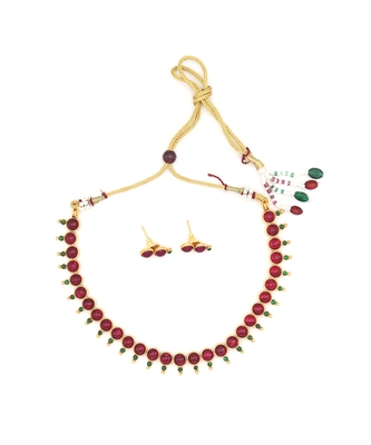 Gold Plated Red Stone Studded Necklace Set For Women