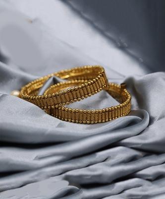 Gold Plated Designer Bangle Set of 2
